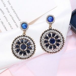 2/$20! Gold/Blue & Clear Crystal Circle Earrings